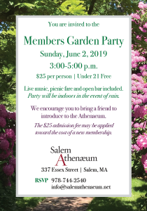 Members Garden Party @ Salem Athenaeum